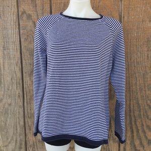 Eddie Bauer Blue White Striped Sweater XL